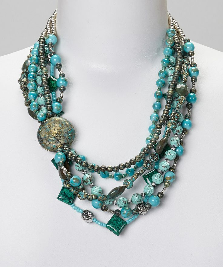 Turquoise Beaded Multi-Strand Necklace by Treska #zulily #zulilyfinds