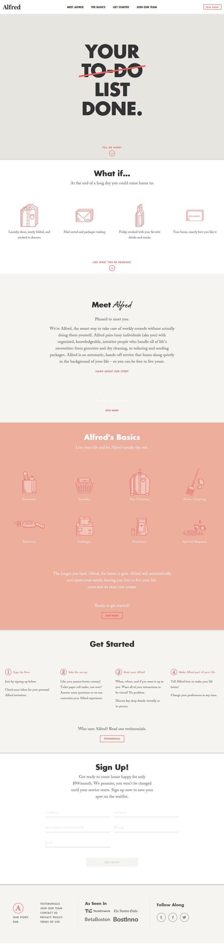 Alfred, minimal design #website. I love the color pallet and one page layout.