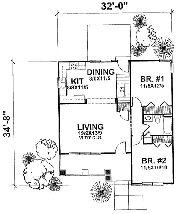 Plan #1662: The Grafton Heated Area: 936 Sq. Ft. First Floor: 936 Sq. Ft. Width: 32 Ft.    Depth: 35 Ft.  Bedrooms: 2           Bath: 1 Garage: 0 Styles: Cottage, Craftsman Foundation: Basement - See more at: http://www.thehousedesigners.com/plan/the-grafton-1662/#sthash.BdmsyepH.lEi7vyty.dpuf
