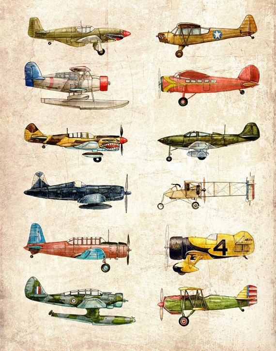 8x10 Vintage Airplane Collection, antiqued watercolor print