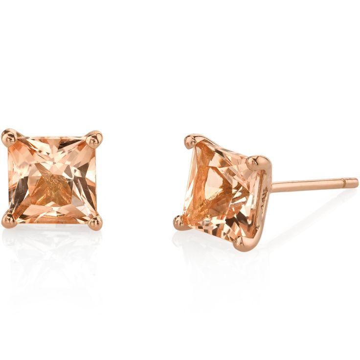 14k Rose Gold Princess Cut 2 00 Carats Morganite Stud Earrings E19126