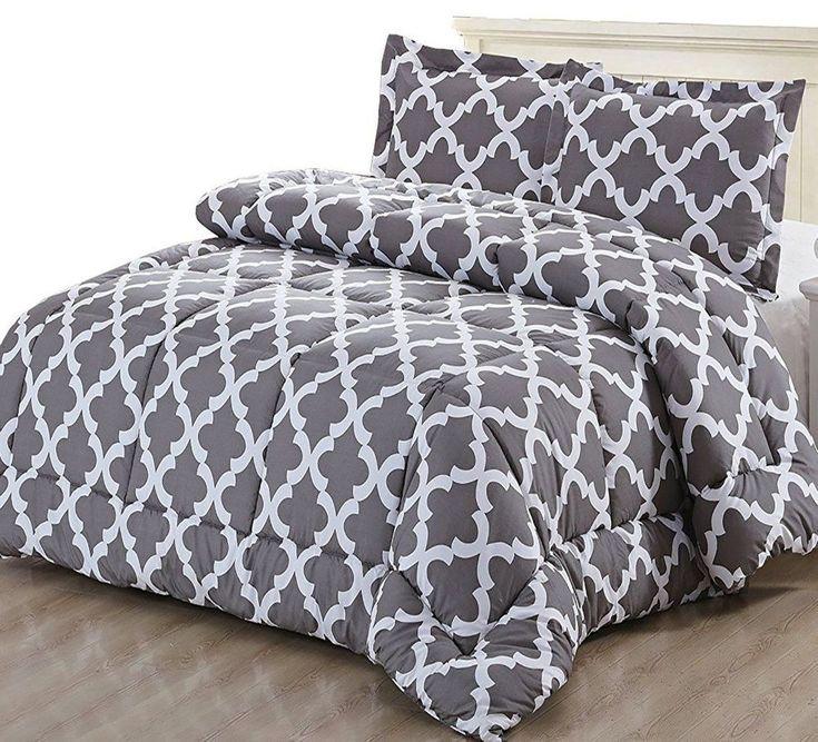 King Size Bedding Comforter Set Grey Bedroom 2 Pillow Shams Modern Decoration #KingSizeBedding