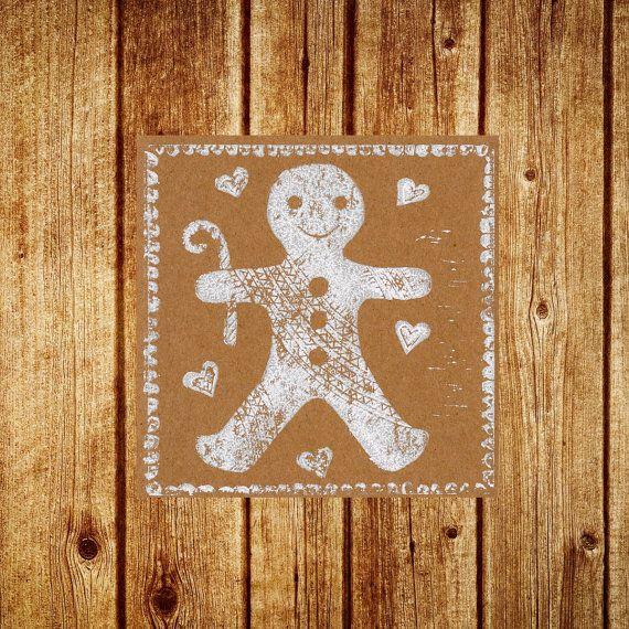 Gingerbread Man Card Hand Printed Lino Cut by SimonsNest on Etsy