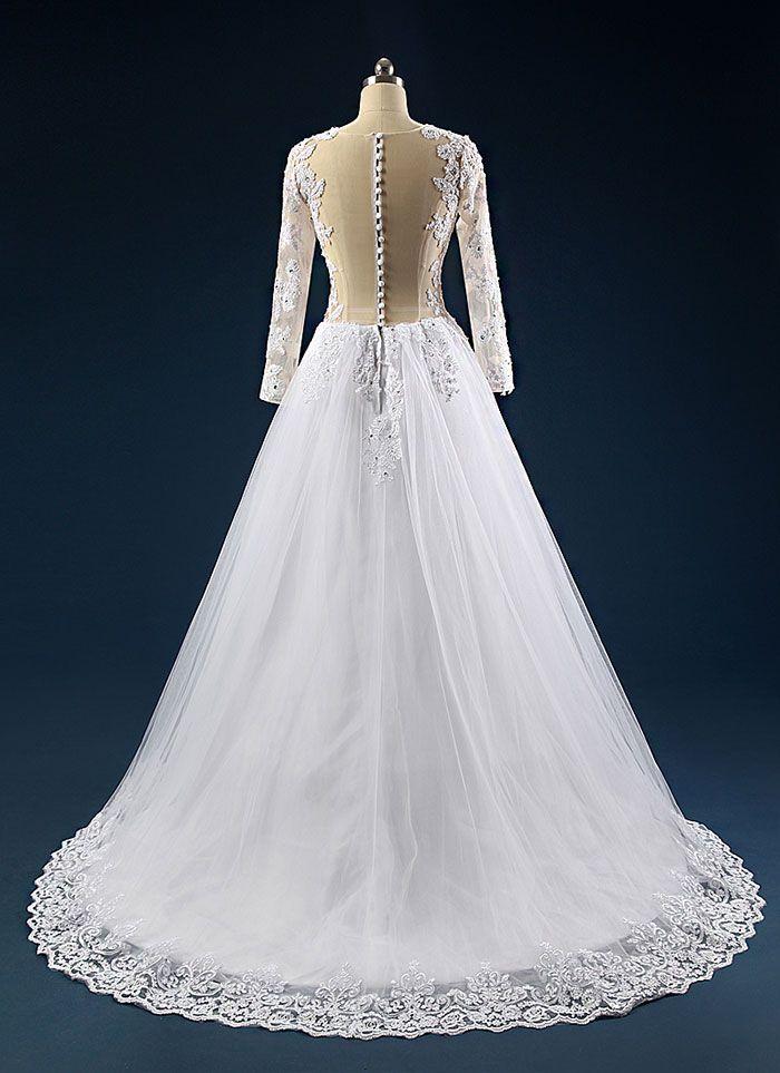 Rochie de mireasa printesa cu maneci si spate transparent COD IMP24