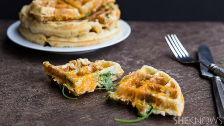 Ham, cheese and spinach waffles are even better than grilled cheese
