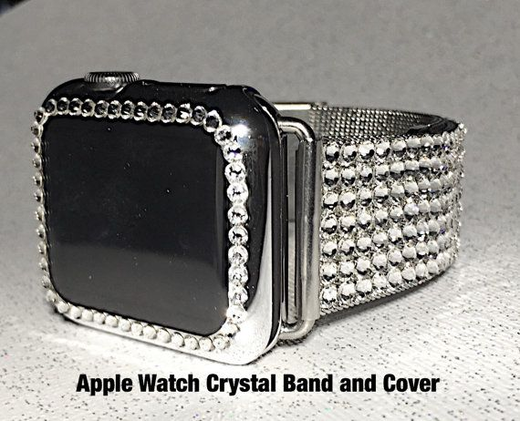 42mm Mega Bling Apple Watch Band loaded with Swarovski Crystals on a Silver Milanese Silver Band. Super Sparkle Bling