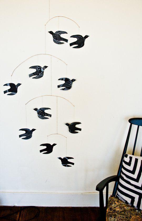 DIY bird art mobile project