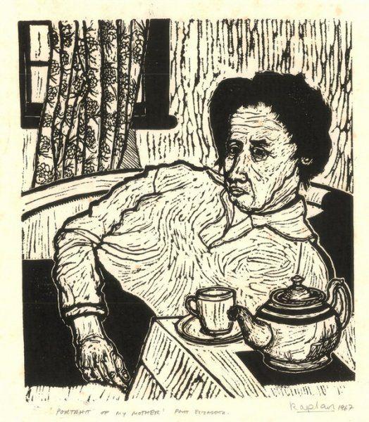 """Portrait Of My Mother, Port Elizabeth, 1967"" - linocut by Norman Kaplan. http://normankaplan.co.za/ Tags: Linocut, Cut, Print, Linoleum, Lino, Carving, Block, Woodcut, Helen Elstone, Anti-apartheid, Exile, South Africa, Dignity, Political."