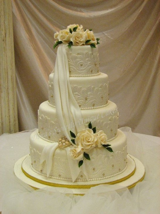 wedding cakes with roses and pearls drapes and pearls and lace cakes lace 26108