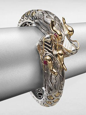 John Hardy Sterling Silver & 18K Gold Dragon Cuff Bracelet