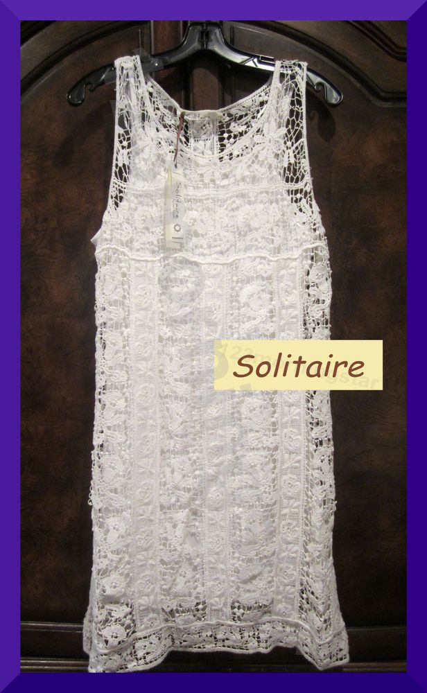 Solitaire $49.99 NEW Crochet & Ribbon Floral 100% Cotton Sleeveless White Shift Dress L #Solitaire #Shift #Cocktail