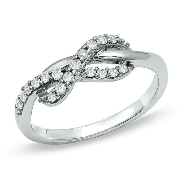 1 4 Ct T W Diamond Infinity Ring In 10k White Gold Jewelry Bling Wedding Rings