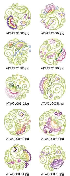 Jacobean-Circles Embroidery Designs