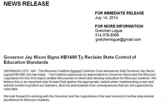 Missouri Governor Jay Nixon Signs Common Core HB1490 into Law, to review and replace CCSS!