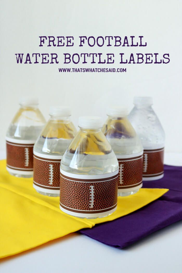 Print off some fun football water bottle labels!  They will make any game day tailgate, party or get together fun and festive!