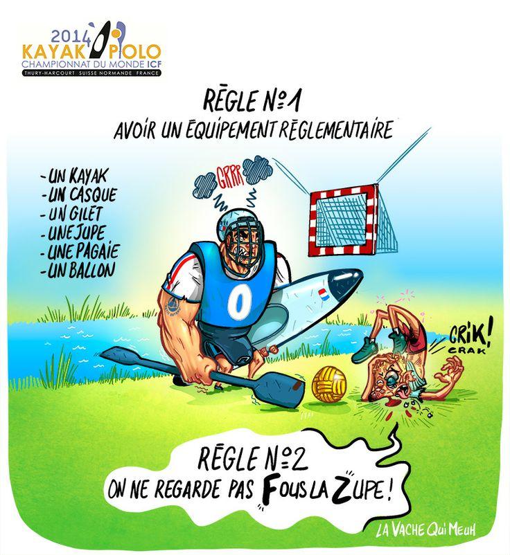 Kayak Polo Règle n°1 et 2 La vache qui meuh sponsor officiel du championnat du Monde de Kayak Polo 2014