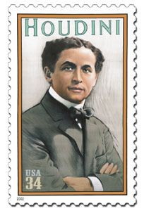 Harry Houdini Stamp Issued July 3, 2002. Harry Houdini (March 24, 1874 – October 31, 1926), America's most famous escape artist and magician, was a Hungarian-American stunt performer.