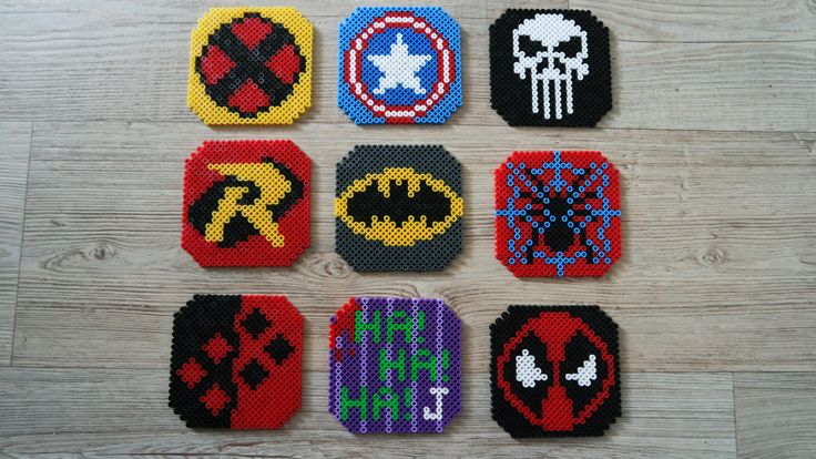 Perler coasters X-men, Captain America, The Punisher, Robin, Batman, Spider man, Harley Quinn, Joker and  Deadpool