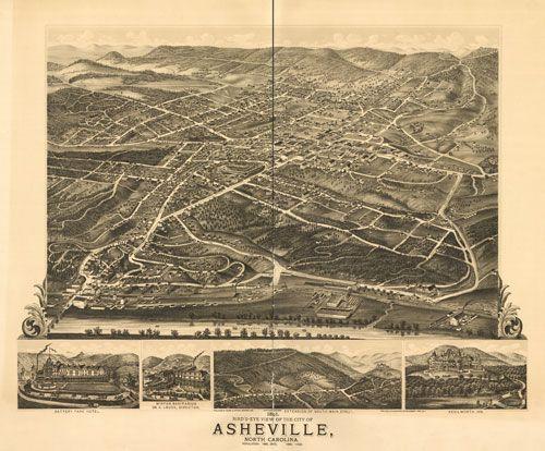 Historic Map - Asheville, NC - 1891  http://www.worldmapsonline.com/historicalmaps/NC-Asheville-1891.htm