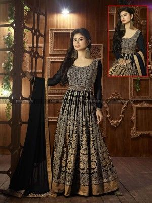 Black Semi Georgette Elegant Anarkali Salwar Suit