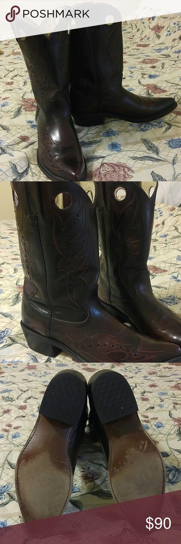 Men's Cowboy Boots Burgandy cowboy boots. Worn once. Durango Shoes Boots