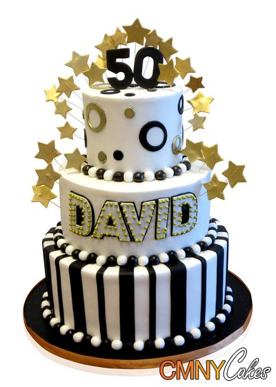 Black White And Gold 50th Birthday Cake
