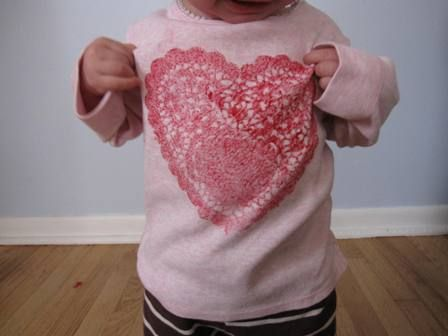 Heart doily printed t-shirts for Valentines Day