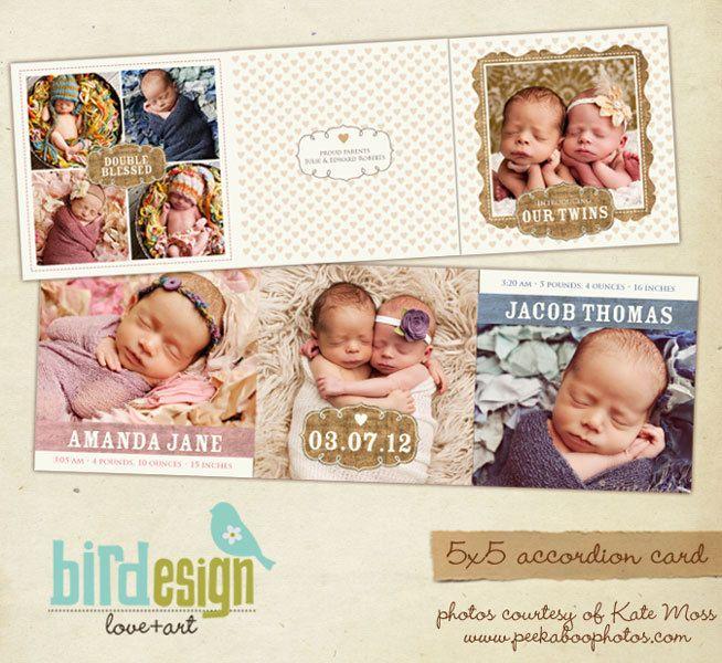 INSTANT DOWNLOAD 5x5 Accordion card Twins Birth por birdesign