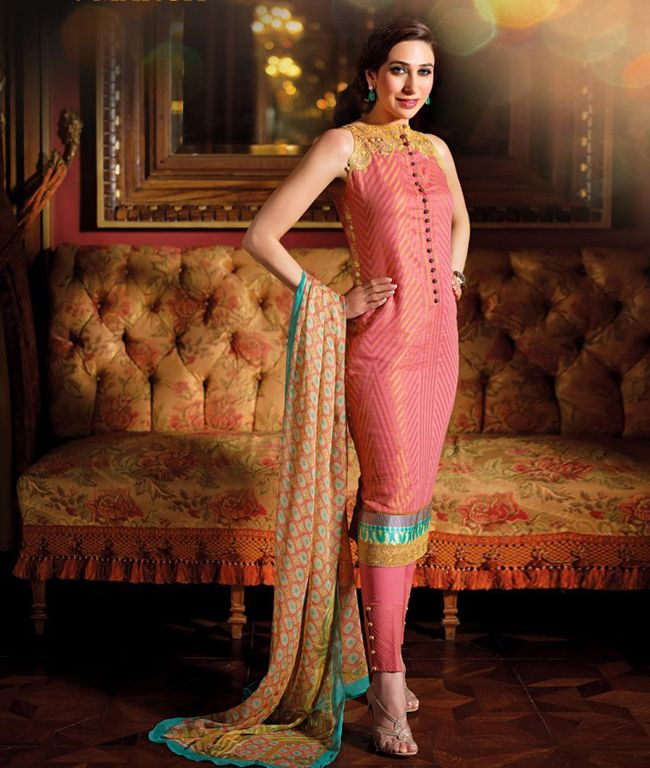 Eclectic designs and mesmerizing colours come together to form this beautiful suit. It has a certain traditional mix along with the modern touch which does wonders for your over all fashionable look.fashionandyou.com brings Crescent by Faraz Manan. Capture the tradition of elegance with the diversified range of products that is designed to combine style and sophistication.BRAND: Crescent by Faraz MananCATEGORY: Unstitched Suit with DupattaCOLOUR:  Top: Pink and Gold Bottom: Pink Dupatta…