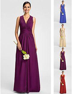 Bridesmaid Dress Floor Length Chiffon Sheath Column V Neck H... – USD $ 69.99