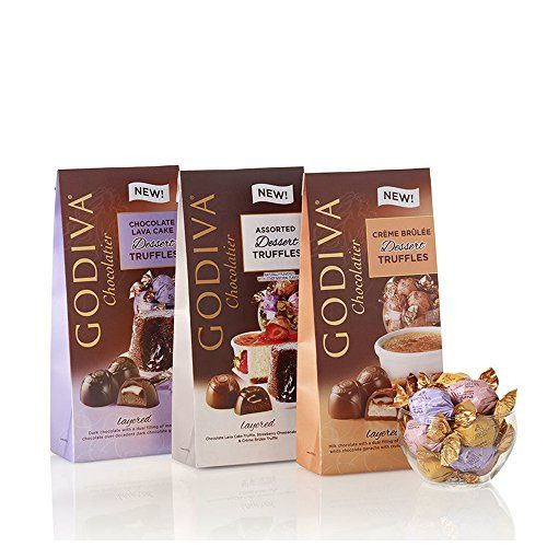 Set of 3 Wrapped Dark Chocolate Truffle Assortments 1 bag each of individually wrapped Crème Brûlée Dessert Truffles, Chocolate Lava Cake Dessert Truffles, and Assorted Dessert Truffles 7 oz. each (approx. 20 pcs per bag) GODIVA Chocolatier Wrapped Dessert Truffles (Set of 3)