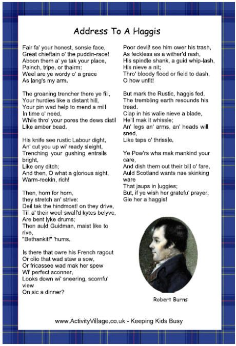 Address to a Haggis printable (Use on Burns night 25th January)