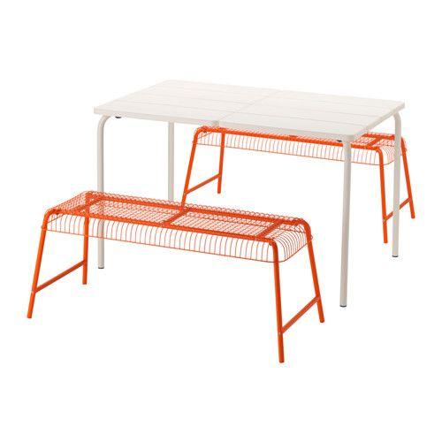 IKEA VÄDDÖ/VÄSTERÖN Table+2 benches, outdoor White/orange The materials in this outdoor furniture require no maintenance.