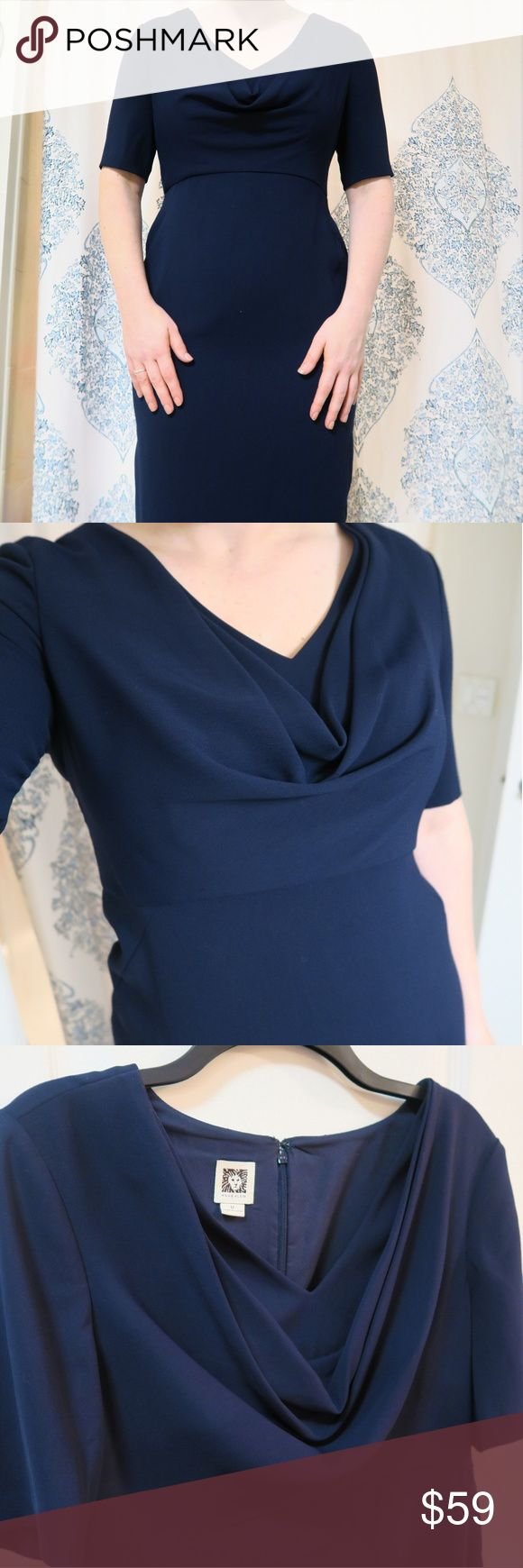 Anne Klein Navy Blue Sheath Dress - Size 12 Anne Klein navy blue sheath dress with scope neck. Perfect condition. Great dress for wedding, work, dinner, etc. I'm 5'10 and the dress sits right above my knee. Size 12 and true to size. Will ship same day of sale. Calvin Klein Dresses Wedding