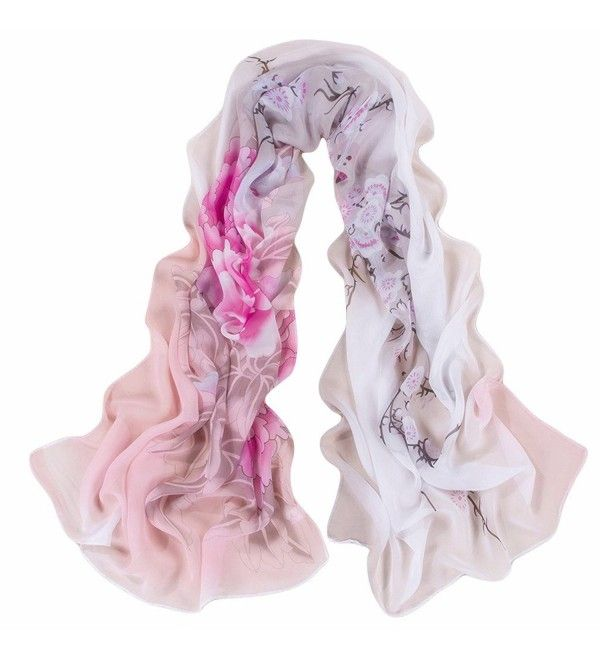 Reversible China Rose Chiffon Voile Lady Shawl Women Scarf