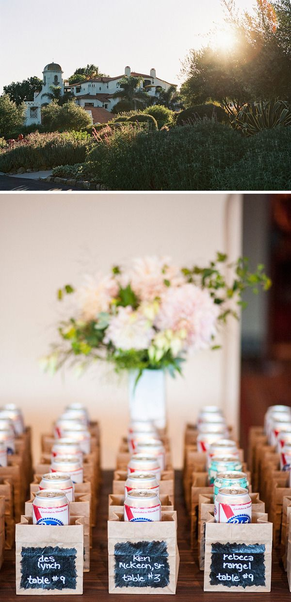 beer escort cards for a backyard bbq wedding pbr table assignments