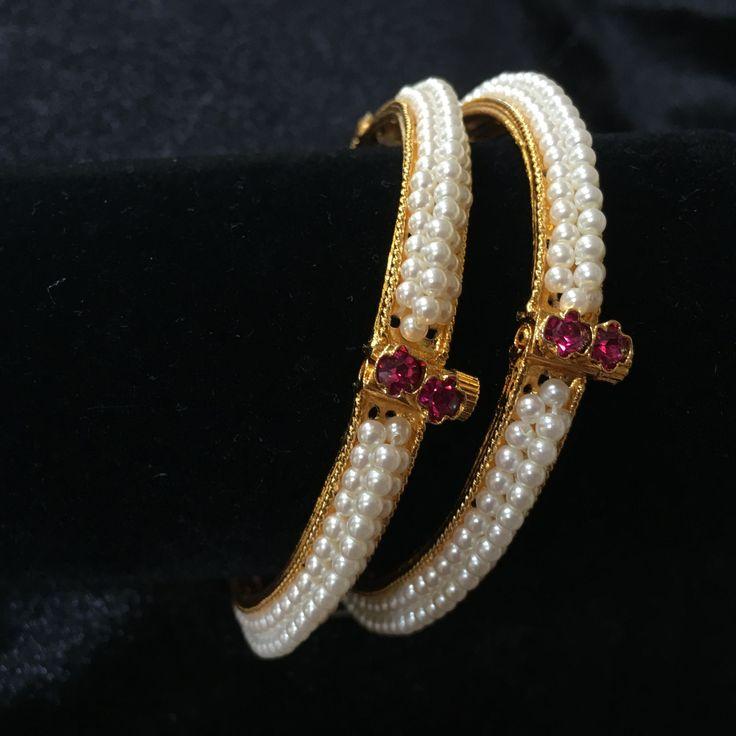 Three line Moti Bangles with Pink Stone
