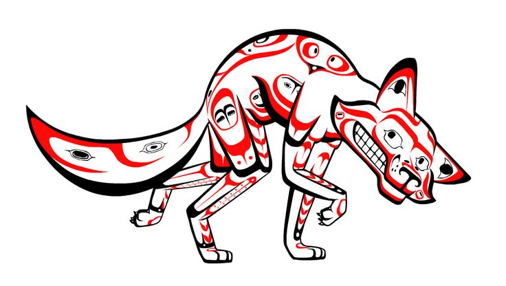 Coyote the Trickster styled in the Tlingit Native American art style.