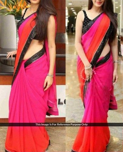 Georgette+Lace+Work+Plain+Pink+&+Red+Bollywood+Style+Saree+-+544 at Rs 999