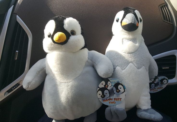 LOT OF 2 CUTE 11 & 12 tall Toy Factory Happy Feet Two Penguin Plush Dolls
