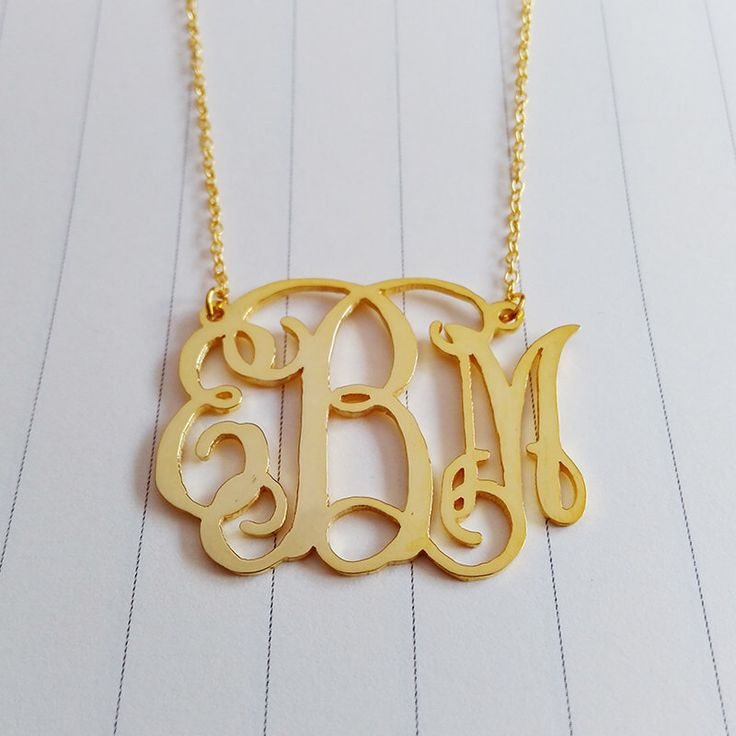 """Personalized Monogram Necklace,3 Initial Monogram Necklace,Gold Monogram Necklace,1.5"""" inch Personalized Monogram Necklace,Custom Jewelry by customforu on Etsy https://www.etsy.com/listing/238217937/personalized-monogram-necklace3-initial"""