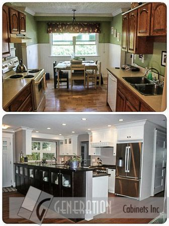 """We transformed this kitchen from a modest, country style, to an open modern concept with a peninsula that doubles as a credenza/hutch on the livingroom side.  Pullout features maximize storage, and the skirted """"Farm Sink"""" and glass features add a charming touch! Cabinets: Generation Cabinets"""