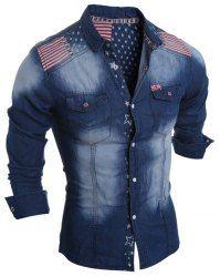 Turn-Down Collar Bleach Wash Stars Print Long Sleeve Stripe Splicing Denim Shirt For Men (DEEP BLUE,L) | Sammydress.com Mobile
