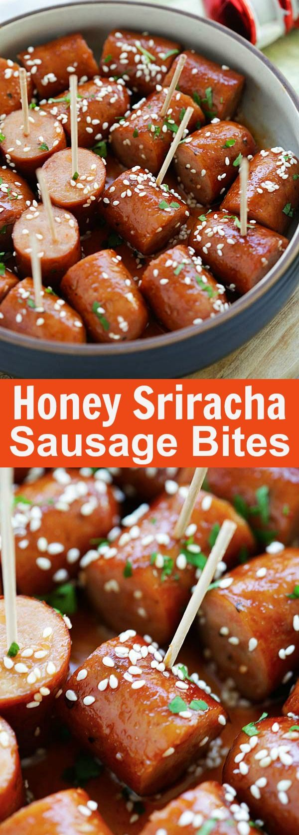 Honey Sriracha Sausage Bites – sticky, sweet and spicy sausage bites with honey sriracha sauce. An easy delicious appetizer that is a crowd pleaser | rasamalaysia.com