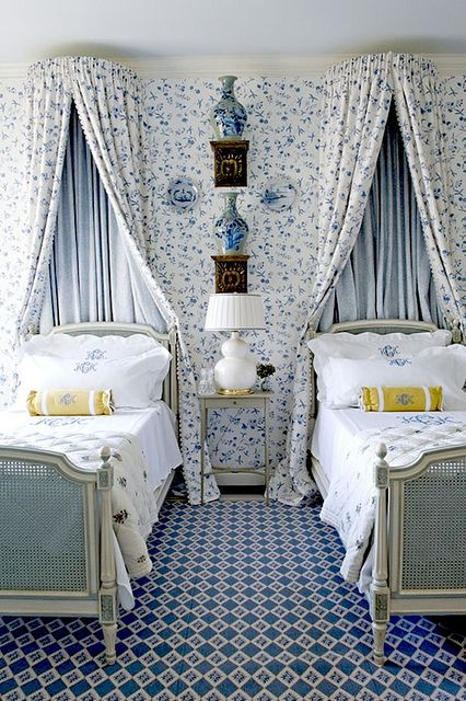 Guest bedroom in Dallas - gorgeous fabric, monograms, blue and white porcelain, carpet - Cathy Kincaid