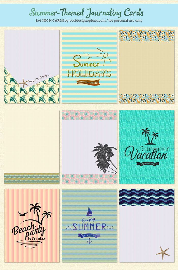 9 Free Summer-Themed Journaling Cards and Filler Cards | Best Design Options