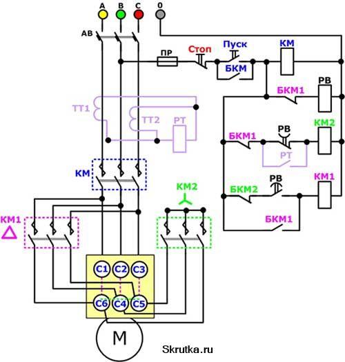 Схема пуска двигателя звезда