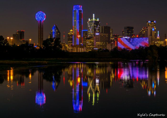Memorial Day Skyline by Kyle Bunch on Capture Dallas // Dallas skyline lit up in red, white and blue for Memorial Day