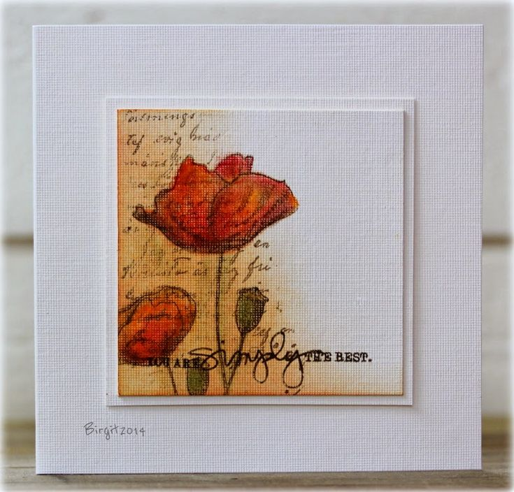 try this idea. Mask and sponge. stamp and color poppies. Add sentiment. Double mount on white card stock. This may be a textured CS.