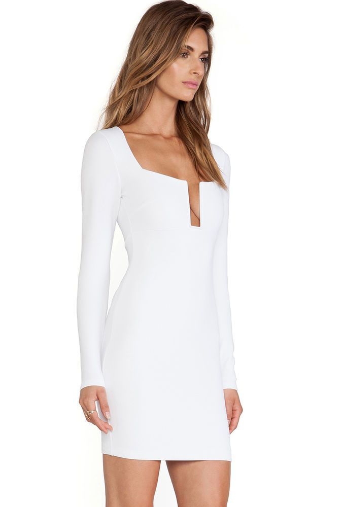 Sexy Little Small WHITE Dress Mini Skirt with Long Sleeves and Deep Cleavage HOT #Unbranded #StretchBodycon #Clubwear
